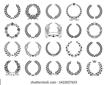 Set of black and white silhouette circular laurel foliate and oak wreaths depicting an award, achievement, heraldry, nobility.