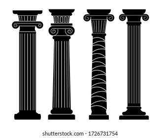 set of black & white silhouette, classical antique columns, pillars with ornaments, architectural & decorative element of ancient buildings, vector illustration, isolated on a white background