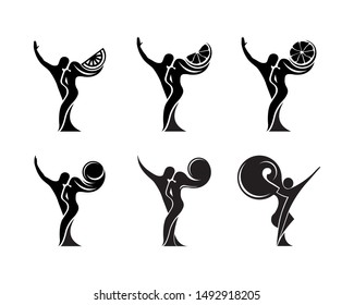 Set of black and white silhouette of a dancing couple in vector. Monochrome logo for dance Studio. Latin, ballroom dancing. Label, sign, sticker. Man and woman dancing.