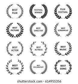 Set of black and white silhouette film award wreaths. Vector illustration.