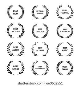 Set of black and white silhouette film award wreaths. Vector illustration.