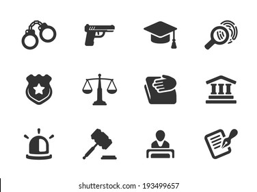 Set of black and white silhouette justice and police icons with a badge  handcuffs  court  judge  gavel  lawyer  gun  mortarboard hat  law book  scales  light or siren  and an investigation