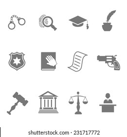 Set of black and white silhouette justice and police icons with a badge  handcuffs  court  judge  gavel  lawyer  gun  mortarboard hat  law book   scales   and an investigation