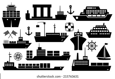 Set of black and white silhouette ships and boats icons showing passenger lines  cruise ship  sailboat  yacht  container ship  tanker in frontal and side views
