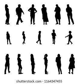 Set of Black and White Silhouette Walking People and Children. Vector Illustration. EPS10