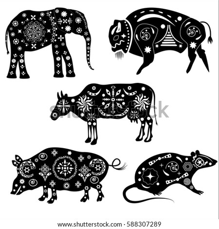 Set Black White Silhouettes Animals Patterns Stock Vector Royalty Impressive Animals With Patterns