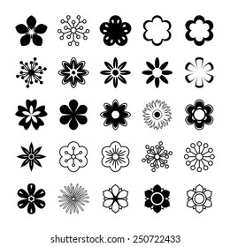 Set of black and white silhouettes of flowers