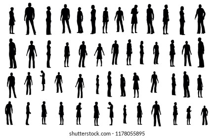 Set with black and white silhouettes of people in different poses. Contours of men and women in different situations. Vector illustration.
