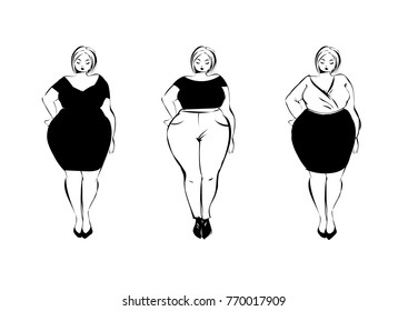 Set of black and white sketch of plus size fashion girls