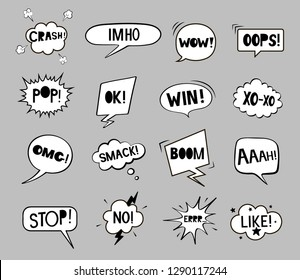Set of black and white speech bubbles. Stop. Aaah! Pop! Win! IMHO. Xo-xo. Ok! No! OMG! Boom! Like! Wow! Oops! Smack! Crash! Vector illustration