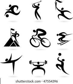 Set of black and white sport icons