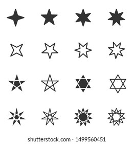 Set of black and white stars icon with different star flat style, vector illustration