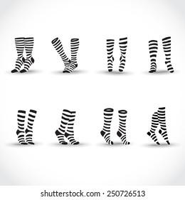 Set of black black and white striped socks