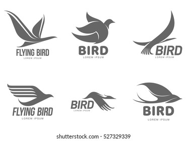 Set of black and white stylized logo templates with birds, vector illustration isolated on white background. Collection of abstract black and white bird symbols and logo design elements