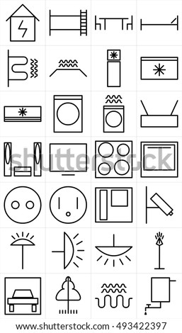 Set Black White Symbols Home Appliance Stock Vector Royalty Free
