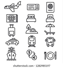 set of black white travel concept icons of resort, cruise and transport