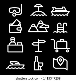 set of black white travel concept icons of resort, cruise and journey