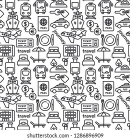 set of black white travel seamles pattern of resort, cruise and transport