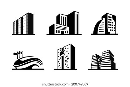 set black white vector building icons stock vector royalty free