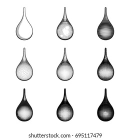 Set of black and white vector drops. Collection of droplets in various retro style. Inking, engraving, etching, lined and dotted raster grid.  Closeup detailed objects for old school graphic designs.