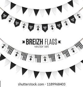 Set of black and white vector flags of Brittany and traditional Celtic symbols on garlands
