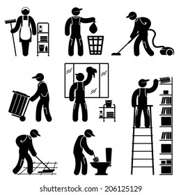set black and white vector icons of cleaner people