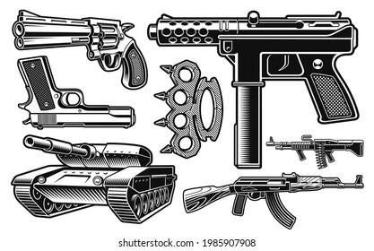 Set of black and white vector illustration of different weapon isolated on white background