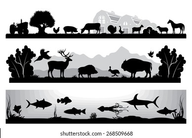 set of black and white vector landscapes wildlife, farm, marine life