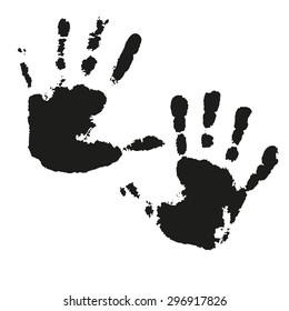 Set of black and white vector watercolor prints of children's hands for your creativity