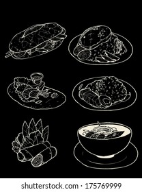 Set of black and white Vietnamese food- pho, spring roll, stew pork, sizzling pancake, sandwich, broken rice.