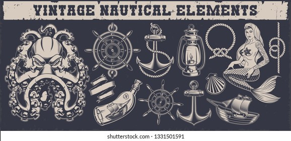 Set of black and white vintage nautical elements for design isolated on the dark background.