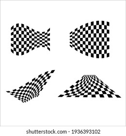 Set of black and white wave sport flag silhouettes for transportation designs