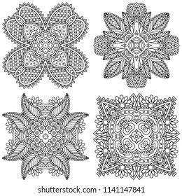Set of black and white zentangle mandalas on a white background. Vector template mandala for decorating greeting cards, coloring books, art therapy, anti stress, print for t-shirt and textile.