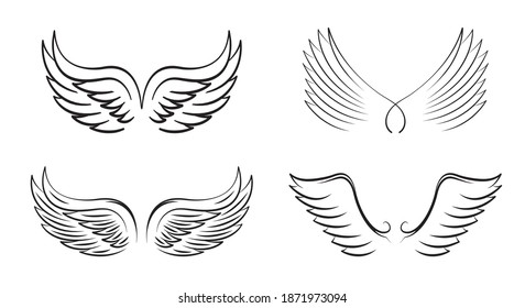 A set of Black Wings. Vector Illustration and outline Icons. Symbol of freedom.