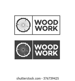 Set of black woodwork label. Isolated vector tree rings background and saw cut tree trunk. Stamps, banners and design elements. Wood work and manufacture label templates. Vector illustration