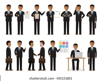Set of black working people on white background. African businessman with gadgets in flat design people characters.