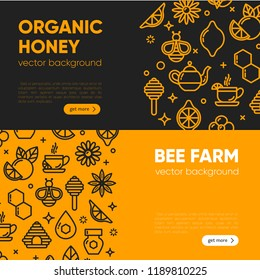 Set of black and yellow banner templates with honey, bee, honeycomb. Design element, outline set, icons of honey symbols. Honey market badge. Beekeeping. Vector illustration, eps 10.