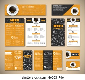 Set of black and yellow corporate identity of banners, menus, flyers, brochures, and a gift card. Template cup of coffee, top view, and hand drawings. MOCKUP
