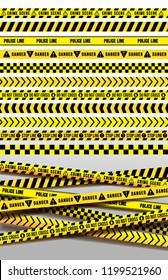 Set of black and yellow police stripe border. Creative danger caution seamless tapes. Art design line of crime places. Construction sign vector. Isolated on white background.