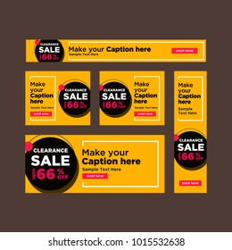 Set of black and yellow sale banners