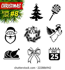 Set of black-and-white christmas icons. Collection of new year symbols. Qualitative vector graphics for christmas, new year's day, winter holiday, design, silvester, etc. It has only solid color