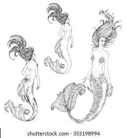 Set: Black-and-white ink Sketch of the mermaid. Vector illustration.
