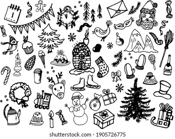 A set of black-and-white vector illustrations on a winter theme drawn by hand by a liner. Theme of holidays, holidays, New year, Christmas.