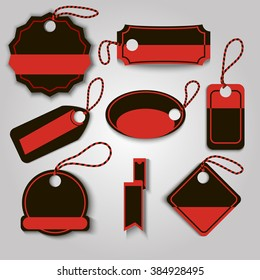 Set blackt and red creative label template vector illustration. Can be use for black friday label.