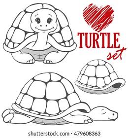set of black&white cartoon turtles isolated on white background. animal vector sketch. Children illustration. turtle symbol