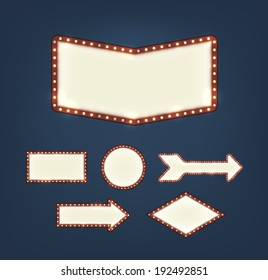 Set of blank american advertising road signs with light bulbs of different shapes on dark background. EPS10 vector.
