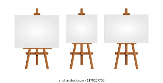 Set blank art board and realistic wooden easel. Wooden Brown  Easel with Mock Up Empty Blank Square Canvas Isolated on white background. Vector illustration
