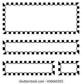 Set of blank banners, plaques with checkered borders for racing, auto sport, motor sport, gokart themes. checkered borders, frames