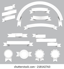 Set of blank banners and ribbons with shadows, isolated on gray background. Vector illustration for your design.