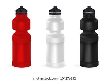 Set of blank bicycle plastic water bottles.